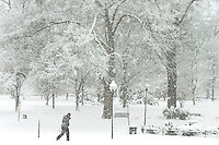 Heavy snow from a February winter storm  brought more than twelve inches of wintery snow to Charlotte, North Carolina.  Winter snow storm 2014 transformed Charlotte NC into a snowy winter scene as heavy snow fell for two days transforming the downtown skyline and surrounding Metro areas into Winter Wonderland.  Many kids and adults used the Winter storm to take a day off from  school and work to play in the heavy snow fall in the Charlotte area.  <br /> <br /> Yes, it does snow in Charlotte North Carolina.<br /> <br /> Charlotte Photographer - PatrickSchneiderPhoto.com