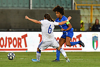 Sara Gama of Italy challenges for the ball with Marija Aleksic of Bosnia and Herzegovina<br /> Palermo 08-10-2019 Stadio Renzo Barbera <br /> UEFA Women's European Championship 2021 qualifier group B match between Italia and Bosnia-Herzegovina.<br /> Photo Carmelo Imbesi / Insidefoto
