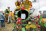 Rinky Dink, a bicycle powered sound system<br /> Climate Camp, Heathrow . 2,000 protesters gathered at an impromptu camp set up to protest against  the UK's airport expansion program.