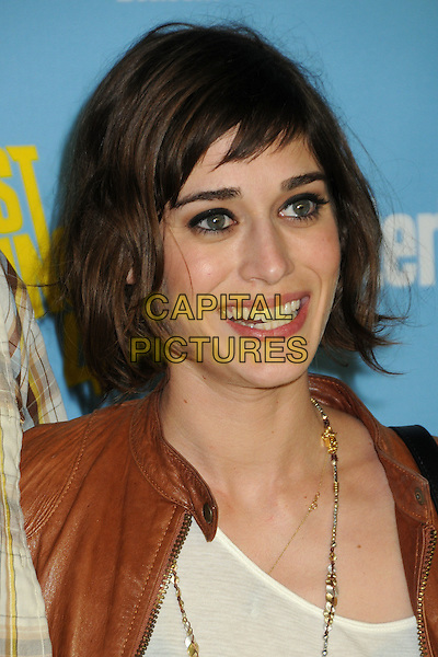 Lizzy Caplan.Entertainment Weekly's Comic-Con 2012 Celebration held at the Hard Rock Hotel Float Lounge, San Diego, California, USA..July 14th, 2012.headshot portrait silver necklace brown white top smiling .CAP/ADM/BP.©Byron Purvis/AdMedia/Capital Pictures.