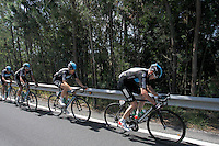 Christopher Froome (r) and Ben Swift leading the peloton during the stage of La Vuelta 2012 between Vilagarcia de Arousa and Mirador de Erazo (Dumbria).August 30,2012. (ALTERPHOTOS/Paola Otero) /NortePhoto.com<br />