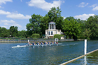 "Henley on Thames, United Kingdom, 22nd June 2018, Friday,   ""Henley Women's Regatta"",  view, Women's Eight, passes the Folly on Temple Island during the AM Time Trial, Henley Reach, River Thames, England, © Peter SPURRIER/Alamy Live News"