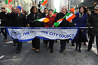 www.acepixs.com<br /> March 17, 2017  New York City<br /> <br /> New York City Council members at the St Patrick's Day Parade on March 17, 2017 in New York City.<br /> <br /> Credit: Kristin Callahan/ACE Pictures<br /> <br /> <br /> Tel: 646 769 0430<br /> Email: info@acepixs.com
