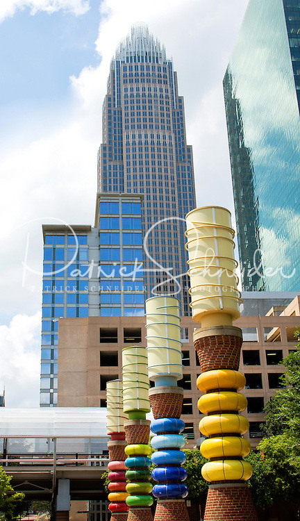 Photography of the Flying Shuttles Sculptures Charlotte in downtown Charlotte, North Carolina.<br /> <br /> The Flying Shuttles highlight the Carolinas' textile history and celebrate its craft and ceramic traditions<br /> <br /> Charlotte Photographer -PatrickSchneiderPhoto.com