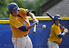 Rob Weissheir #12, Kellenberg catcher, strokes a two-run double in the top of the fifth inning in Game 2 of the CHSAA varsity baseball finals against St. Anthony's at Hofstra University on Sunday, May 31, 2016. Kellenberg went on to win 5-4 to sweep the best-of-three series and take the league championship.