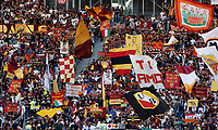 Roma fans wave flags during the Serie A soccer match between Roma and Cagliari at Rome's Olympic Stadium, October 6, 2019. UPDATE IMAGES PRESS/ Riccardo De Luca