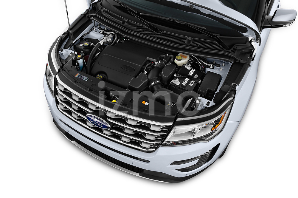 Car Stock 2016 Ford Explorer Limited 5 Door SUV Engine  high angle detail view