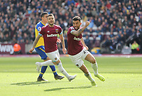 West Ham United's Ryan Fredericks celebrates scoring his side's third goal <br /> <br /> Photographer Rob Newell/CameraSport<br /> <br /> The Premier League - West Ham United v Southampton - Saturday 4th May 2019 - London Stadium - London<br /> <br /> World Copyright © 2019 CameraSport. All rights reserved. 43 Linden Ave. Countesthorpe. Leicester. England. LE8 5PG - Tel: +44 (0) 116 277 4147 - admin@camerasport.com - www.camerasport.com