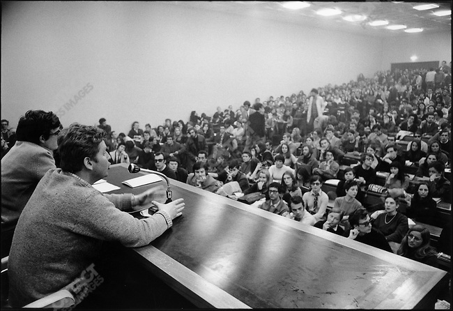 The 1968 May Events, Daniel Cohn-Bendit at the reopening of Nanterre University, near Paris, France, April 2, 1968.