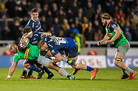 3rd January 2020; AJ Bell Stadium, Salford, Lancashire, England; English Premiership Rugby, Sale Sharks versus Harlequins; Aaron Morris of Harlequins is tackled by Jean-Luc du Preez of Sale Sharks - Editorial Use