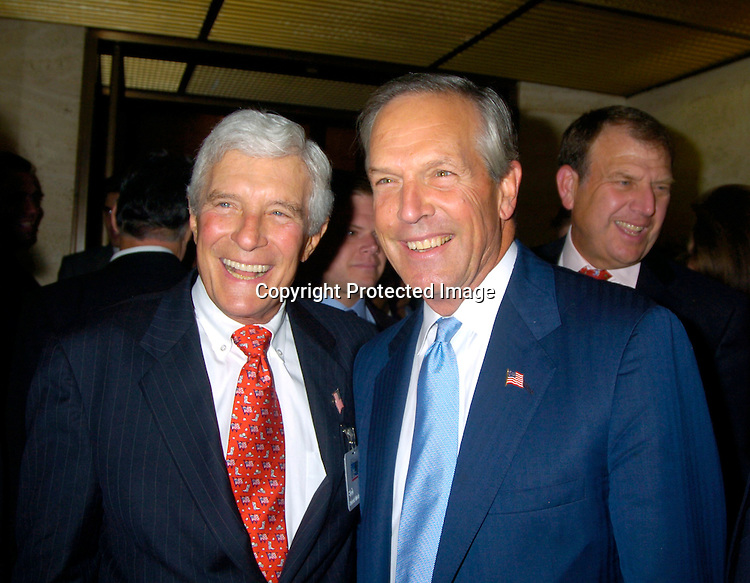 Bob Mosbacher and Secretary of Commerce Don Evans ..at the Newsweek Party for the Republican Convention ..on August 30, 2004 at The Four Seasons Restaurant...Photo by Robin Platzer, Twin Images