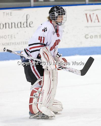 Florence Schelling (NU - 41) - The University of Connecticut Huskies defeated the Northeastern University Huskies 4-1 in Hockey East quarterfinal play on Saturday, February 27, 2010, at Matthews Arena in Boston, Massachusetts.