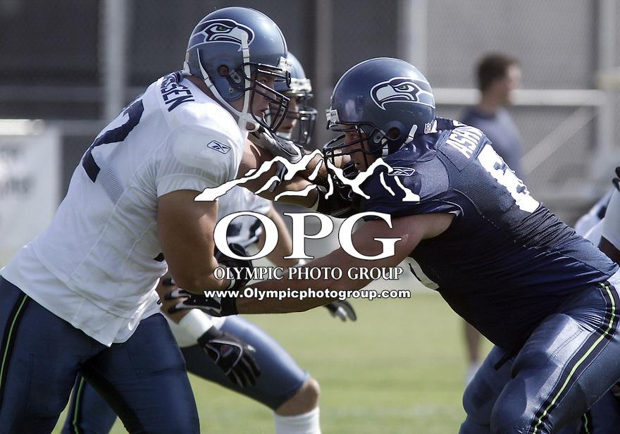 03 Aug 2006:   Seattle Seahawks guard #67 Tom Ashworth blocks defensive end #72 Kemp Rasmussen during morning pre-season drills at Eastern Washington University in Cheney, Washington.