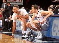 Virginia guard Justin Anderson (1) and Virginia forward Evan Nolte (11) during the game Jan. 7, 2015, in Charlottesville, Va. Virginia defeated NC State  61-51.