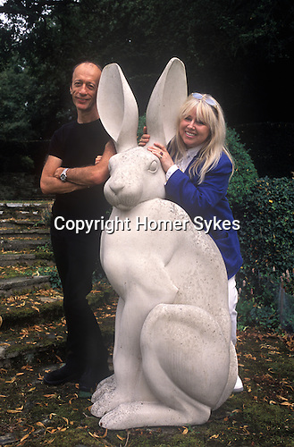 Dwina Gibb and Robin Gibb of the pop group Bee Gees 2000s at their home in the Home Counties UK