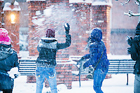 Campus Snow Day - snowball fight near Chapel<br />