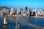 "Aerial view of  Oakland Bay Bridge (legally The James ""Sunny Jim"" Rolph Bridge"