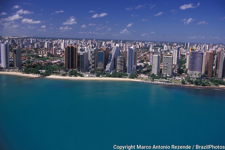 Upper-class apartment buildings overlooking the sea, Fortaleza cityscape, Ceara State, Brazil.