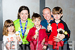 Caroline Walsh Castleisland is welcomed home at the end of the Killarney run in the Gleneagle on Sunday l-r: Sarah, Caroline, Evan, william and Dylan Walsh