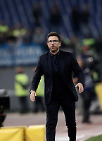 Calcio, Serie A: Roma, stadio Olimpico, 14 ottobre 2017.<br /> Roma's coach Eusebio Di Francesco reacts during the Italian Serie A football match between Roma and Napoli at Rome's Olympic stadium, October14, 2017.<br /> UPDATE IMAGES PRESS/Isabella Bonotto