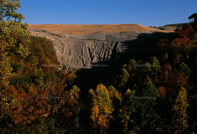 View of mountaintop removal site from nearby road where mines are rarely visible.
