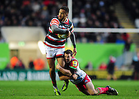 Peter Betham of Leicester Tigers is tackled by Karl Dickson of Harlequins. Aviva Premiership match, between Leicester Tigers and Harlequins on November 20, 2016 at Welford Road in Leicester, England. Photo by: Patrick Khachfe / JMP