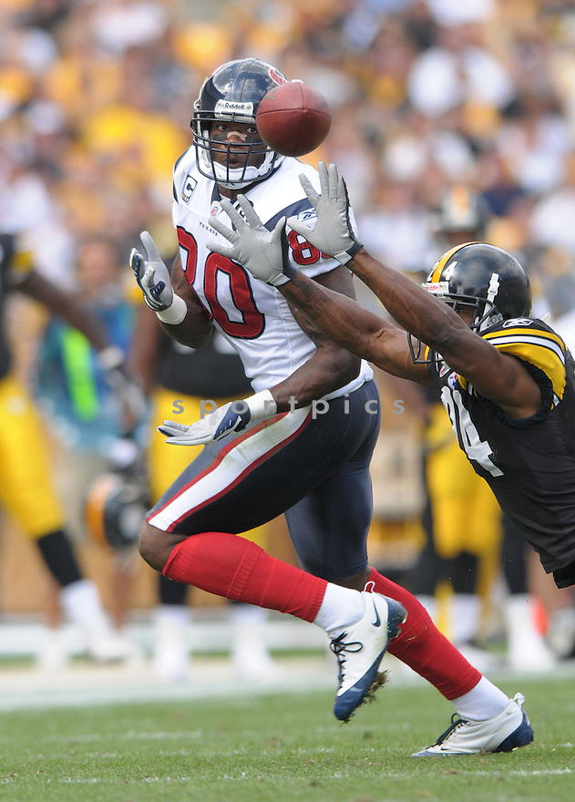ANDRE JOHNSON, of the Houston Texans, in action during the Texans, game against the Pittsburgh Steelers  in Pittsburgh, Pennsylvania on September 7, 2008..The Pittsburgh Steelers won 38-17