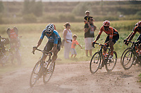 Wout Van Aert (BEL/Veranda's Willems-Crelan) tries to cross the gap to the race leaders ahead<br /> <br /> Antwerp Port Epic 2018 (formerly &quot;Schaal Sels&quot;)<br /> One Day Race:  Antwerp &gt; Antwerp (207 km; of which 32km are cobbles &amp; 30km is gravel/off-road!)