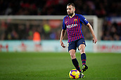 2nd February 2019, Camp Nou, Barcelona, Spain; La Liga football, Barcelona versus Valencia; Jordi Alba of FC Barcelona holds up the ball during an attack