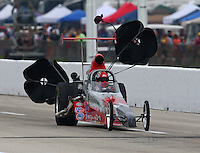 Apr 26, 2014; Baytown, TX, USA; NHRA competition eliminator driver William Hatcher III during qualifying for the Spring Nationals at Royal Purple Raceway. Mandatory Credit: Mark J. Rebilas-