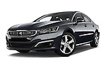 Stock pictures of low aggressive front three quarter view of a 2015 Peugeot 508 GT 4 Door Sedan 2WD Low Aggressive