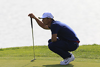 Thorbjorn Olesen Team Europe on the 16th green during Friday's Fourball Matches at the 2018 Ryder Cup, Le Golf National, Iles-de-France, France. 28/09/2018.<br /> Picture Eoin Clarke / Golffile.ie<br /> <br /> All photo usage must carry mandatory copyright credit (© Golffile | Eoin Clarke)