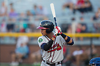 Derian Cruz (7) of the Danville Braves at bat against the Burlington Royals at Burlington Athletic Stadium on August 14, 2017 in Burlington, North Carolina.  The Royals defeated the Braves 9-8 in 10 innings.  (Brian Westerholt/Four Seam Images)
