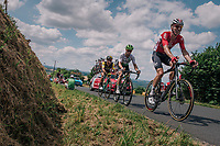 Marcel Sieberg (DEU/Lotto-Soudal), Mark Renshaw (AUS/Dimension Data) &amp; Dylan Groenewegen (NED/LottoNL-Jumbo) dropped up the 3rd climb of the day<br /> <br /> Stage 5: Lorient &gt; Quimper (203km)<br /> <br /> 105th Tour de France 2018<br /> &copy;kramon