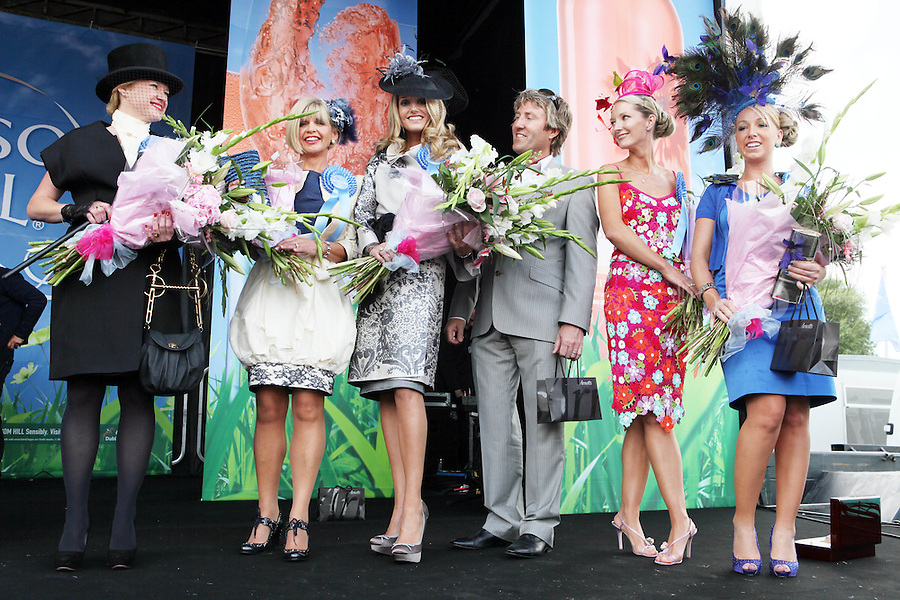 5/8/2010.Blossom Hill Ladies Day. Winner of the best dressed Lady Yvonne Ellard from Tipperary (CENTER) is pictured with runners up L-R (Highly recomended) Sharon Mc Grattan and Mirriam Keane, (best dressed man) Paul Morrissy,( most colourful outfit) Laoise Hughes and (Best Hat) Michelle Foley at the Blossom Hill Ladies Day at the Fáilte Ireland Dublin Horse Show at RDS. Picture James Horan/Collins Photos
