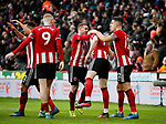 John Lundstram of Sheffield Utd  celebrates scoring the wining goal during the Premier League match at Bramall Lane, Sheffield. Picture date: 9th February 2020. Picture credit should read: Simon Bellis/Sportimage
