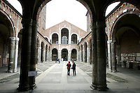 Il quadripartito all'entrata della Basilica di Sant'Ambrogio, a Milano.<br /> The entrance portico to the Basilica of Sant'Ambrogio in Milan.<br /> UPDATE IMAGES PRESS/Riccardo De Luca