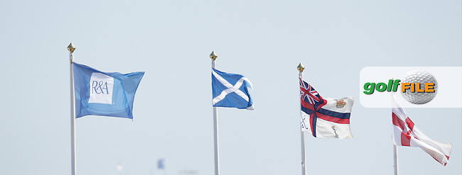 flags on grandstands during round 3 of  The 142th Open Championship Muirfield, Gullane, East Lothian, Scotland 20/7/2013<br /> Picture Eoin Clarke www.golffile.ie:
