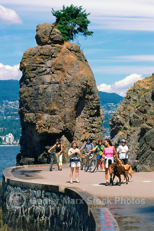 Stanley Park, Vancouver, BC, British Columbia, Canada - Siwash Rock and Seawall along English Bay