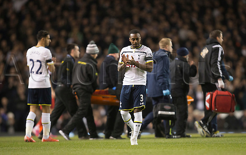 04.03.2015.  London, England. Barclays Premier League. Tottenham Hotspur versus Swansea City. Tottenham Hotspur's Danny Rose applauds as Swansea's Bafetibis Gomis is carried off.