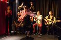"""Edinburgh, UK. 02.08.2016. Alba Flamenca presents the self-titled show, """"Alba Flamenca"""", as part of the Edinburgh Festival Fringe.  Picture shows: Maria del Mar Suarez (dancing), Gabriela Pouso, Pedro Morote, Inma Montero, Danielo Olivera, Daniel Martinez. Photograph © Jane Hobson."""