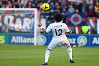 14.12.2013, Pamplona, Spain. La Liga football Osasuna  versus  Real Madrid.    Marcelo, Real Madrid defender, during the game between Osasuna and Real Madrid  from the Estadio de El Sadar.