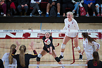 STANFORD, CA - November 15, 2017: Morgan Hentz, Kathryn Plummer, Audriana Fitzmorris at Maples Pavilion. The Stanford Cardinal defeated USC 3-0 to claim the Pac-12 conference title.