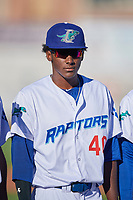 Yeison Cespedes (44) of the Ogden Raptors before the game against the Orem Owlz at Lindquist Field on June 19, 2018 in Ogden, Utah. The Raptors defeated the Owlz 7-2. (Stephen Smith/Four Seam Images)