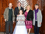 Olivia McKenna who recieved first holy communion in the church of Mary Immaculate collon pictured with her family. Photo:Colin Bell/pressphotos.ie