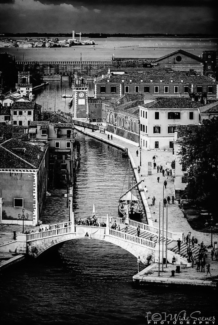 Moody aerial image looking down a canal to Arsenale in Venice, Italy