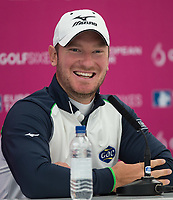 Chris Wood (England) during a media interview ahead of the GOLFSIXES ProAm  at Centurion Club, St Albans, England on 5 May 2017. Photo by Andy Rowland.
