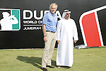 Course designer Greg Norman with Marwan Al Qamsi on practice day at the Dubai World Championship in Jumeirah Golf Estates, Dubai  UAE, 17th November 2009 (Photo by Eoin Clarke/GOLFFILE)