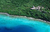 Aerial view of St.  John<br /> Showing Annaberg Plantation<br /> Virgin Islands National Park<br /> U.S. Virgin Islands