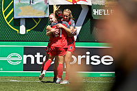 Portland, OR - Saturday July 15, 2017: Hayley Raso celebrates a goal during a regular season National Women's Soccer League (NWSL) match between the Portland Thorns FC and the North Carolina Courage at Providence Park.